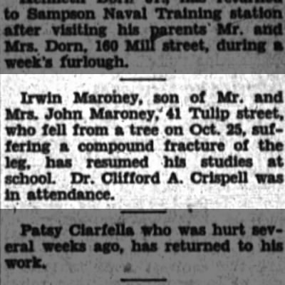 Irwin Maroney falls from tree.