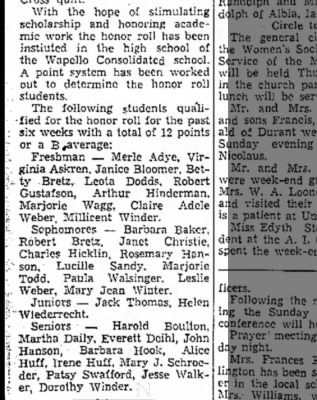 1942 Barb High School The Muscatine News-Tribune 12.8.1942