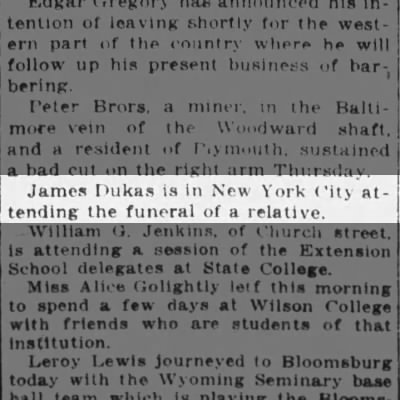 Relative funeral in NYC 1917