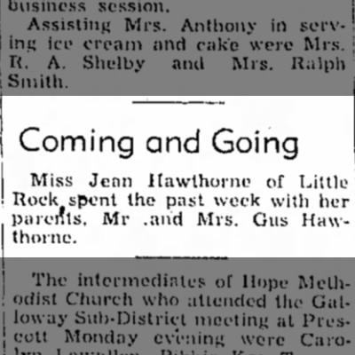 7 May 1952 Hope Star p3 Jean Hawthorne