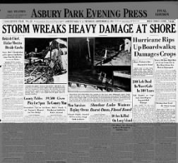 New Jersey hurricane headlines, 1938