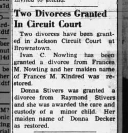 Donna Stivers granted divorce, The Tribune, Seymour, Indiana, 12 May 1943, pg 6
