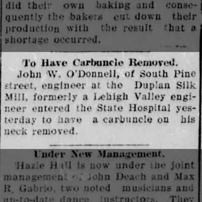 John W Info - Engineer at Duplan Silk Mill in 1908