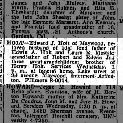 Edward J. Holt - death notice