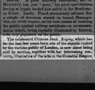 Report in New York about sale of Keying in London 1853