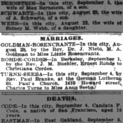 Ernest Rohde Cordes Wedding