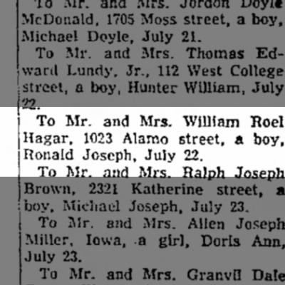 ronald joseph hagar birth announcement
