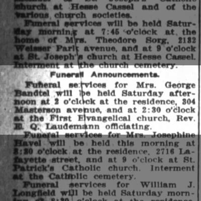 Mrs. Geo. Bandtel funeral , The Ft.Wayne Journal-Gazette, Aug.4,1916 p.6
