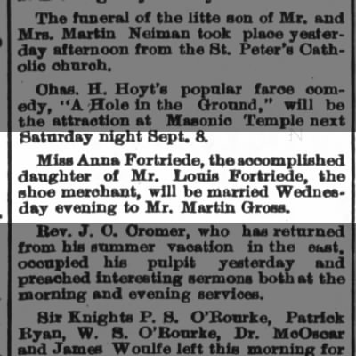 Anna Fortriede m. Martin Gross, The Ft.Wayne Sentinel, Mon. Sept. 3, 1888 p. 4