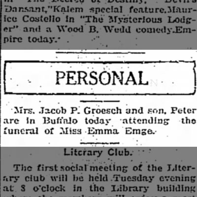 Mrs Jacob P Groesch adn son Peter at funneral of Emma Emge 16 Nov 1914 Dunkirk Evening Observer