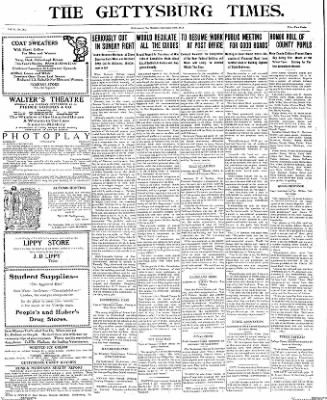 The Gettysburg Times from Gettysburg, Pennsylvania on September 29, 1913 · Page 1