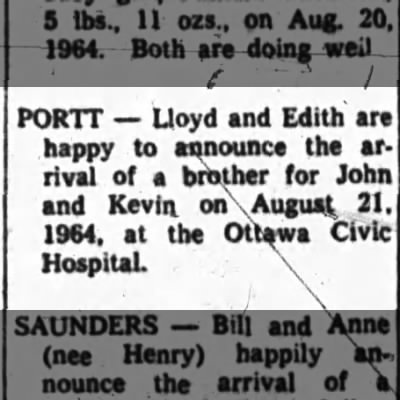 Lloyd Portt and Edith announce birth of son Aug 21, 1964 Ottawa Journal Aug 22, 1964