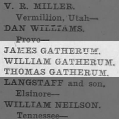 Scofield mine names of the dead.  3 Gatherums.