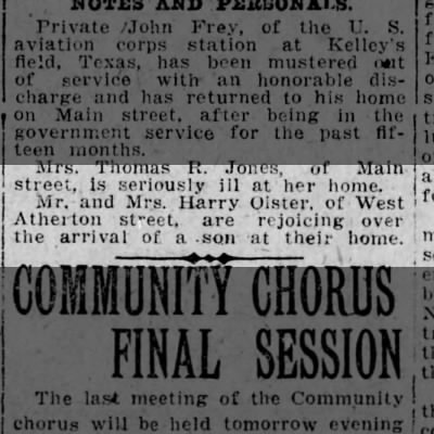 Harry Oister and Gladys  Jones Oister, birth announcement of son, Scranton Republican, 6 Feb 1919