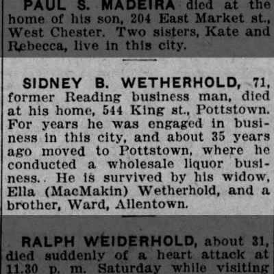 Sidney B Wetherhold Obit 16 Aug 1926 Reading Times