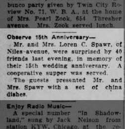 Loren Spawr wedding anniversary