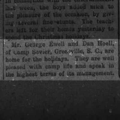 Daniel Hoell home for the holidays from Camp Sevier, SC 1917