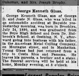 George K Glass killed 1913