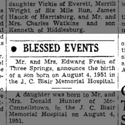 Edward Frain's son birth announcement 6 Aug 1951