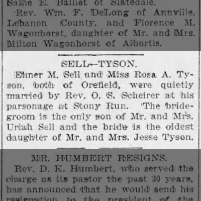 Sell-Tyson marriage