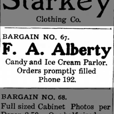 F. A. Alberty Candy and Ice Cream Parlor
