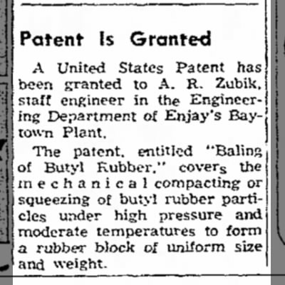"A.R. Zubik -- Patent Granted ""Baling of Butyl Rubber"""
