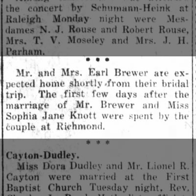 The Daily Free Press (Kinston, NC)   Wed., 19 Jan. 1921   Earl Brewer Bridal Trip