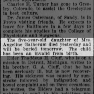Angeline Gatherum's daughter died 1901