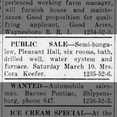 Cora Keefer - House sale notice 1956