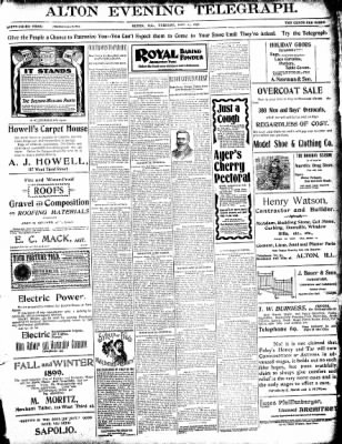 Alton Evening Telegraph from Alton, Illinois on December 27, 1898 · Page 1