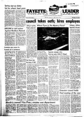 Fayette County Leader from Fayette, Iowa on January 3, 1962 · Page 1