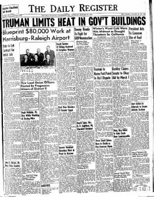 The Daily Register from Harrisburg, Illinois on January 17, 1948 · Page 1