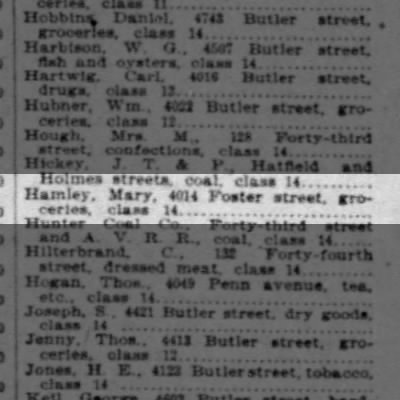 1898 Mary Hamley grocery at 4014 Foster Street.