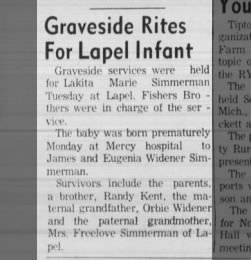 """Graveside Rites For Lapel Infant"""
