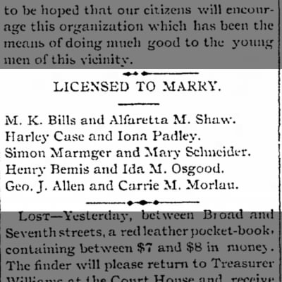 Bemis, Henry & Osgood, Ida, license to marry 1887